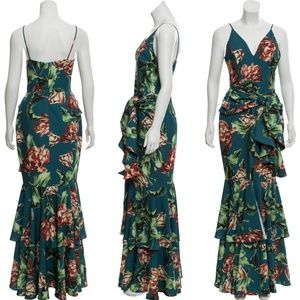 PatBo Green Blue Teal  Floral Tiered Maxi Dress